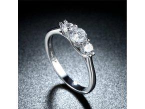Dámský prsten se zirkony z rhodiované bižuterie a platiny SR000054