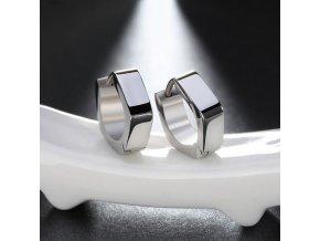 Dámské hranaté náušnice z chirurgické oceli- stříbrné SE000070