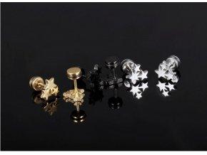 Pecičkové náušnice 3 hvězdy z chirurgické oceli- 3 barvy SE000074 (Barva Zlatá)