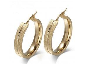 Kruhové náušnice z pískované chirurgické oceli- zlaté SE000076