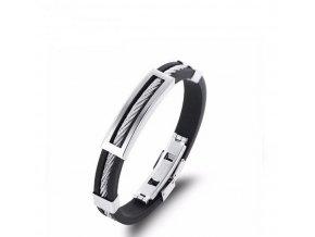 Silikonový náramek s lankem z chirurgické oceli- stříbrno černý SSB00071
