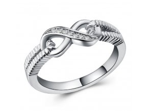 Prsten ze symbolem nekonečno se zirkony z rhodiované bižuterie SR000057