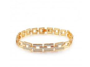 492162 damsky zlaty naramek z rhodiovane bizuterie se zirkony cb000101