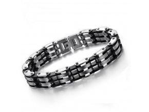 Pánský náramek Tripple chain z chirurgické oceli- stříbrno černý CB000102