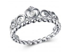 Dámský prsten se srdíčky a zirkonem z rhodiované bižuterie SR000060