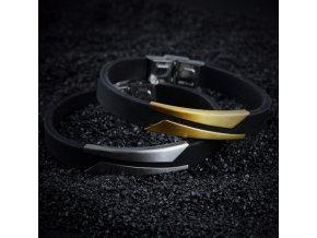 Silikonový náramek se zdobením z chirurgické oceli- 2 barvy SSB00088 (Barva Zlatá)