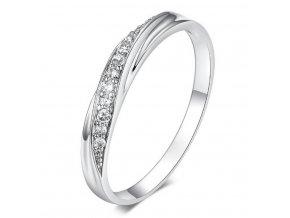 Decentní stříbrný prsten se zirkony z rhodiované bižuterie SR000062 (Velikost 9)