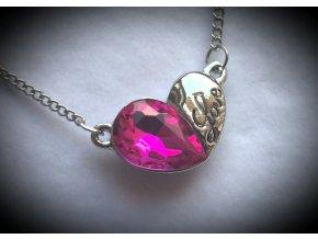 Náhrdelník double hearts s přívěskem srdce a nápisem Love PN000150