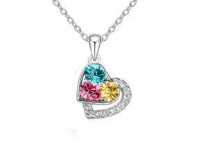 Náhrdelník dvojité srdce se 3 barevnými zirkony PN0000152