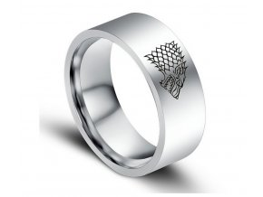 Stříbrný prsten z chirurgické oceli se Stark house z Games of Thrones-Hra o trůny SR000065 (Velikost 9)