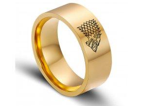 Zlatý prsten z chirurgické oceli se Stark house z Games of Thrones-Hra o trůny SR000066 (Velikost 9)