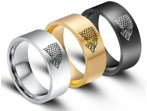 Černý prsten z chirurgické oceli se znakem Stark house z Games of Thrones- Hra o trůny SR000067 (Velikost 9)