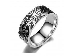 Prsten z chirurgické oceli Dark Devil- stříbrnočerný SR000069 (Velikost 9)
