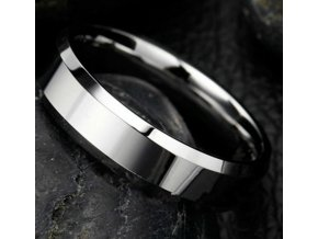 Prsten z broušené chirurgické oceli stříbrný SR000071