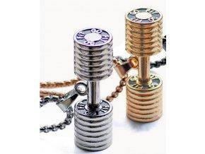 Náhrdelník s přívěskem činky z chirurgické oceli PN0000154 (Barva Zlatá)