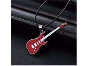 3D náhrdelník s přívěskem kytary z chirurgické oceli na provázkovém řetízku PN0000157 (Barva Modrá)
