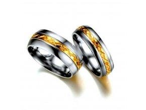 Dámský prsten z broušené chirurgické oceli střibrnozlatý SR000075 (Velikost 8)