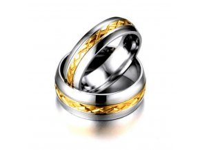 Pánský prsten z broušené chirurgické oceli střibrnozlatý SR000076 (Velikost 9)