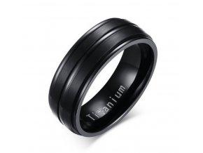 Černý prsten z kvalitního Titanu SR000078 (Velikost 9)