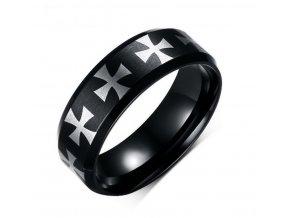 Černý prsten z chirurgické oceli s Maltézskými kříži SR000079 (Velikost 9)