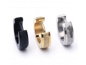 Malé kulaté náušnice z pískované chirugické oceli SE000080 (Barva Zlatá)