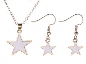 Hvězdičkový set šperků z rhodivoané bižuterie  CS000067 (Barva Černá)