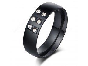 Černý prsten zdobený zirkony z chirurgické oceli SR000082 (Velikost 9)