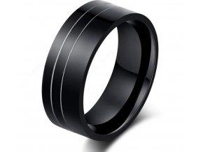 Černý prsten z chirurgické oceli Double Line SR000083 (Velikost 9)