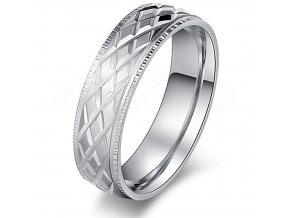 Prsten z chirurgické oceli- stříbrný- rýhovaný SR000084 (Velikost 9)