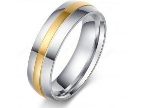 Stříbrnozlatý prsten z chirurgické oceli Gold Line SR000085 (Velikost 9)