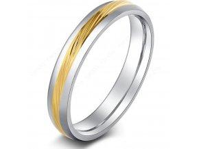 Decentní prsten stříbrný se zlatým rýhováním z chirurgické oceli SR000086 (Velikost 9)