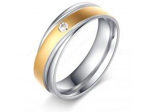 Dámský prsten z chirurgické oceli ve stříbrnozlaté barvě se zirkonem SR000087 (Velikost 9)