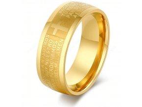 Zlatý prsten z chirurgické oceli s křížem a modlitbou SR000089