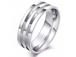 Stříbrný masivní prsten hranatého vzhledu z chirurgické oceli SR000090 (Velikost 9)