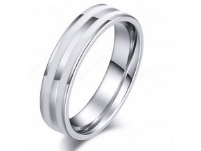 Stříbrný prsten Double white line z chirurgické oceli SR000092 (Velikost 9)