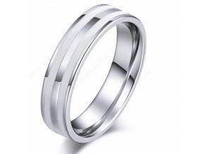 Stříbrný prsten Double white line z chirurgické oceli SR000092