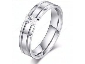 Dámský prsten s výrazným zirkonem z chirurgické oceli- stříbrný SR000094 (Velikost 9)