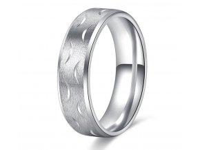 Prsten z vlnkami ve stříbrné barvě z chirurgické oceli SR000095 (Velikost 9)