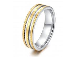 Ocelový prsten Tripl Line stříbrnozlatý SR000097