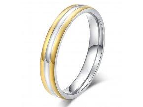 Dámský prsten Triple Line stříbrnozlatý z oceli SR000098 (Velikost 9)