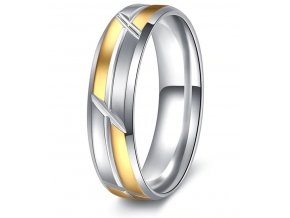 Stříbrnozlatý prsten Mixed colour Sharp z chirurgické oceli SR000103 (Velikost 9)