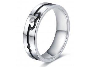 Stříbrný prsten černá křivka EKG z chirurgické oceli se zirkonem SR000107