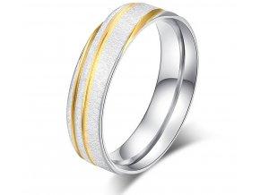 Prsten z broušeného chirurgické oceli stříbrnozlatý Gold strip SR000109