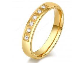 Dámský  zlatý prsten z oceli osázen drobnými zirkony SR000111