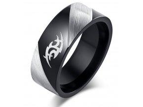 Prsten se symbolem z broušené chirurgické oceli- černý SR000112 (Velikost 9)