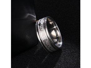 Prsten z chirurgické oceli křivka EKG- stříbrný SR000113 (Velikost 9)