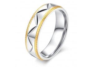 Prsten z chirurgické oceli ve stříbrnozlatém provedení CIK-CAK SR000115