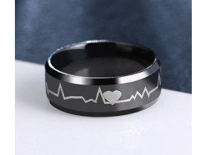 Černý prsten z chirurgické oceli- křivka EKG SR000116 (Velikost 9)