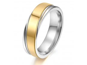 Střibrnozlatý prsten z chirurgické oceli Twisted SR000117 (Velikost 9)
