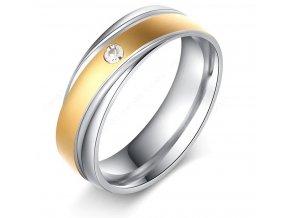 Stříbrnozlatý prsten z chirurgické oceli Twisted s zirkonem SR000119 (Velikost 9)